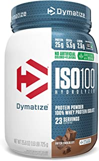 Dymatize ISO 100 Whey Protein Powder with 25g of Hydrolyzed 100% Whey Isolate, Gluten Free, Fast Digesting, Dutch, 1.6 Pou...