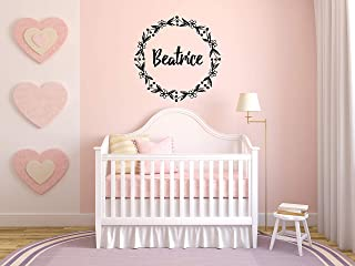 Vinyl Sticker Beatrice Girl Floral Name Font Type Kids Room Nursery Mural Decal Wall Art Decor EH3579