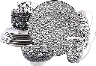 vancasso, série Haruka, 16 pièces, pour 4 Personnes, 4 * Assiette Plate, 4 * Assiette à Dessert, 4 * Bol céréal, 4 Tasses,...