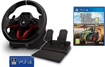 Volante y Pedales PS4 Inalámbrico [Nuevo Modelo] Licencia Oficial Sony Playstation 4 + Farming Simulator 19