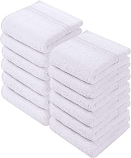 Utopia Towels - Luxury Washcloths Set 12 x 12 inches, White - 700 GSM 100% Cotton Premium Quality Flannel Face Cloths, Highly Absorbent and Soft Feel Fingertip Towels (12-Pack)