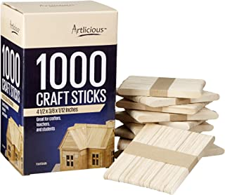 Artlicious - 1000 Natural Wooden Food Grade Popsicle Craft Sticks