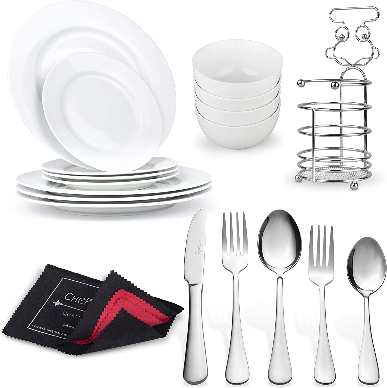20PCS Silverware Set + 12PCS Dinnerware Set + Cutlery Holder + Flatware Polishing Cloth   Porcelain Plates Bowls   Stainless Steel Spoons Forks Knifes by CheF SONU - Quality Over Price