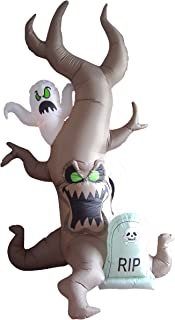 8 Foot Tall Halloween Inflatable Grave Scene with Ghost, Dead Tree Monster and Tombstone Party LED Lights Decor Outdoor In...