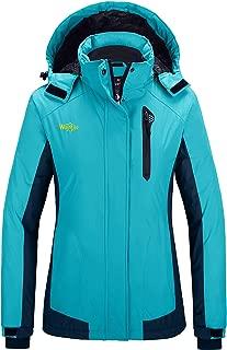 Wantdo Women's Waterproof Fleece Parka Windproof Ski Jacket Hooded Winter Raincoat Mountaineering Windbreaker