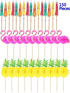 150 Pieces Tropical Hawaiian Cupcake Toppers Summer Flamingo Pineapple Cocktail Umbrella Cupcake Toppers Cocktail Picks Party Supplies