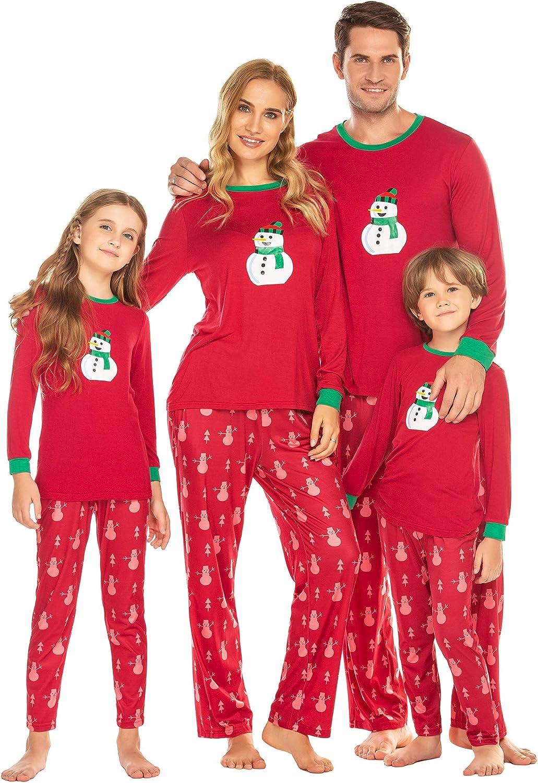 Ekouaer Christmas Pajamas Matching Family Pjs Long Sleeve Sleepwear Soft Nightwear (Dad Mom Kids)
