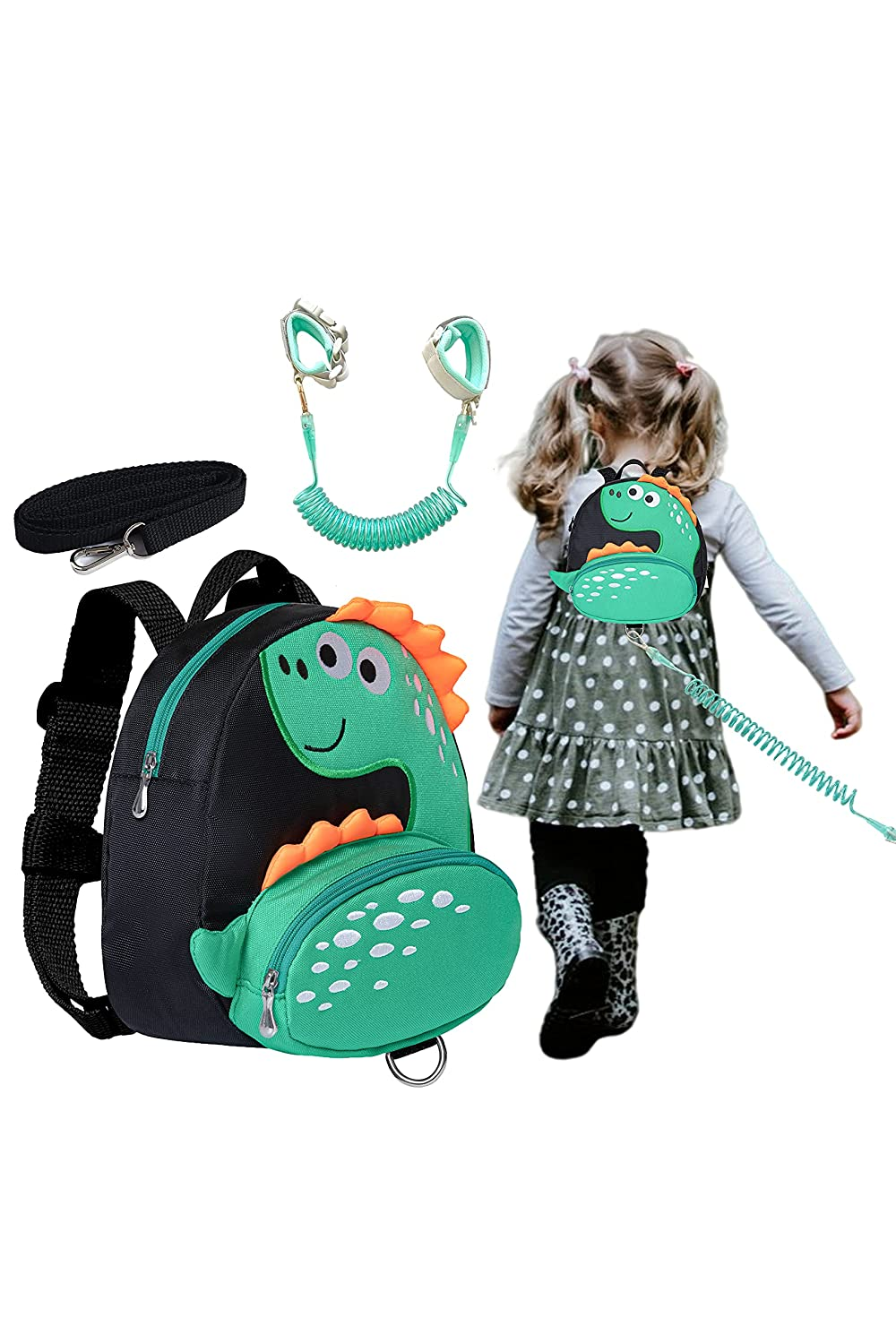 Dinosaur Toddlers Leash Backpacks with Anti-Lost Wristband Child Kids Wrist Link (Green)