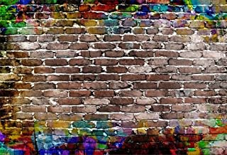 CSFOTO 5x3ft Background for Graffiti Colorful Brick Wall Photography Backdrop Retro Grunge Abstract Old Brick Wall Painting Hip Hop Birthday Party Decor Photo Studio Props Polyester Wallpaper