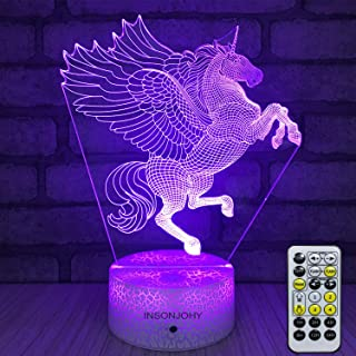INSONJOHY Night Lights for Kids, Unicorn Gifts,Unicorn Lamp, Unicorn 3D Night Light Bedside Lamp 7 Colors Changing Remote Control Timer Best Birthday Gifts Ideas for Kids Girls Boys Baby (Unicorn-A)