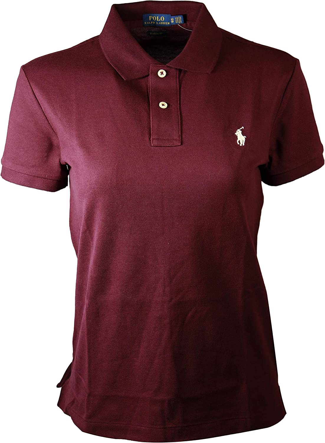 RALPH LAUREN Polo Womens Classic Fit Mesh Polo Shirt (X-Small, Red Wine)