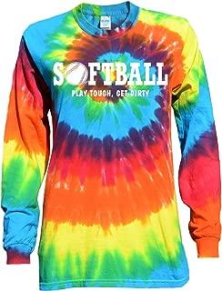 Softball Rainbow Tie Dye Long Sleeve T-Shirt Play Tough, Get Dirty Logo