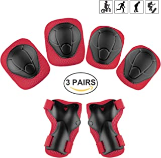 Kids Protective Gear Set Knee Pads Elbow Pads Wrist Guards for Scooter Skateboard Adjustable Dirt Bike Gear Safety Roller Skates As Birthday (Black)