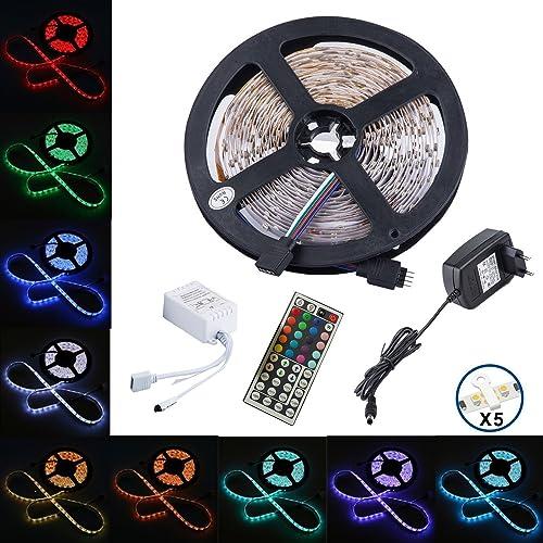 ALFA Éclairage 16.4 ft LED bande flexible 150 LED couleur changeante Kit bande de lumière LED RGB smd5050 RGB 5 m avec 42 clés télécommande IR contrôleur et 12 V 2 A Alimentation [Classe énergétique A]