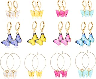 FIBO STEEL 12 Pairs Butterfly Earrings Colorful Huggie Dangle Earrings Butterfly Drop Dangle Earring Cute Jewelry for Wome...