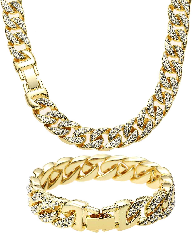 Cuban Link Chain Necklace Bracelet Set 爆安 感謝価格 Iced Miami Out Silv Men's