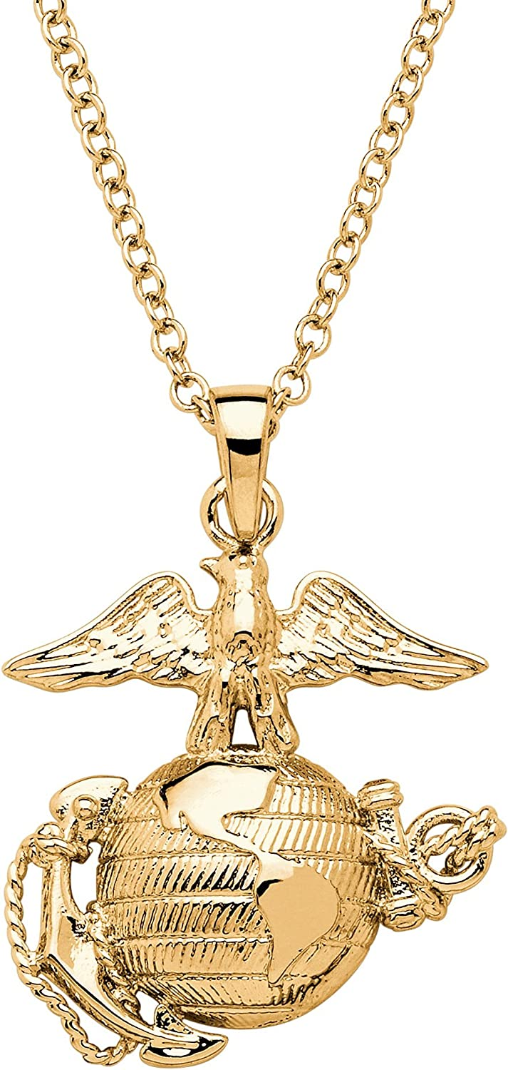 Palm Beach Jewelry Yellow Gold-Plated Army Airforce Navy or Marine Pendant with 20 inch Chain