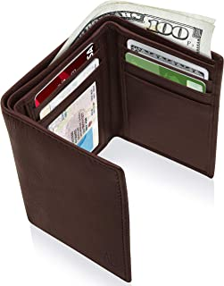 Trifold Wallets For Men RFID - Genuine Leather Slim Mens Wallet With ID Window Front Pocket Wallet Gifts For Men