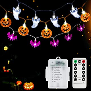 SYIHLON Set of 3 Christmas Decorations Lights with Remote,8 Modes 90 LEDs IP65 Waterproof Battery Operated Pumpkin Bat Ghost Fairy String Lights for Christmas Bar Outdoor Indoor Halloween Decor