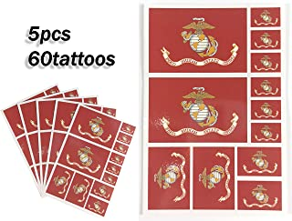 JBCD Marine Corps Temporary Tattoos 60 Pcs Military Stickers Waterproof Army Tattoos State Flags Tattoo Patriotic Face Tattoos, Suitable for Sports Event Parties and Pride Decorations