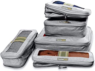 6 Set Compression Packing Cubes Travel Luggage Organizers w/Wrinkle-Guard (Granite Gray)
