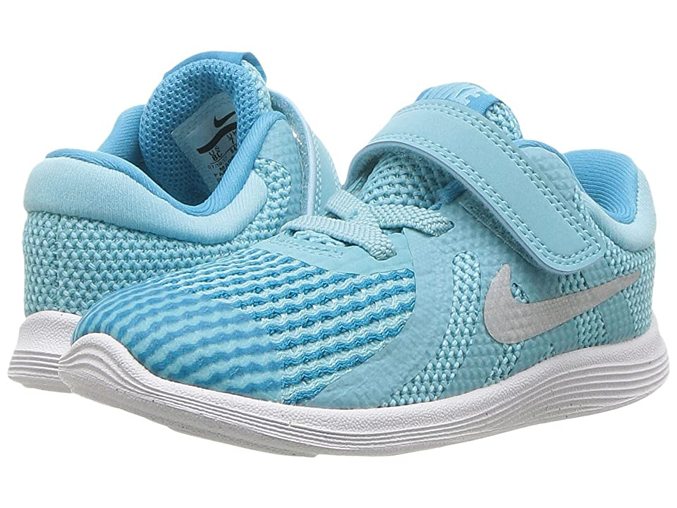 Nike Kids Revolution 4 (Infant/Toddler) (Bleached Aqua/Metallic Silver) Girls Shoes