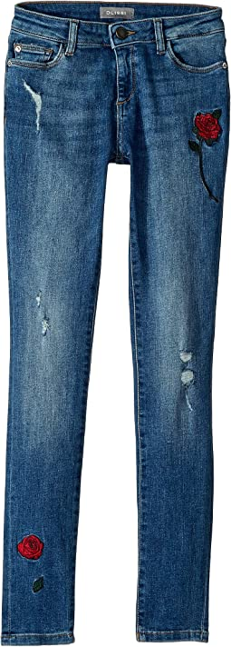 Chloe Mid Wash Skinny with Embroidery in Wannabe (Big Kids)