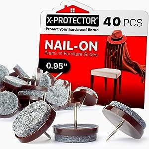 Nail-on Felt Pads X-PROTECTOR – 40 Felt Furniture Pads – Felt Chair Pads for Hardwood Floors – Floor Protectors for Furniture Legs – Best Furniture Sliders for Hardwood Floors! (24 mm)