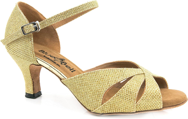 BlueBell Shoes Handmade Women's Ballroom Salsa Wedding Competition Dance Shoes Selene 2.5