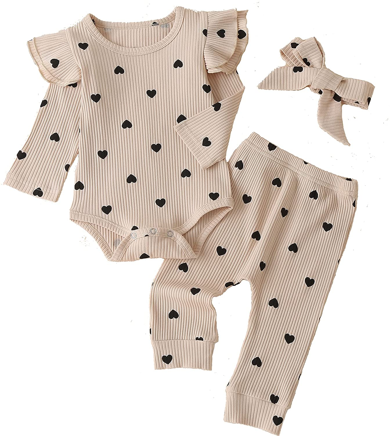 Baby Girl's 3pc Rib Frill Long Sleeve Romper and Pant Set