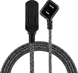 Cordinate 42841-T1 Designer 3 Extension, 2 Prong Strip, Extra Long 8 Ft Power Flat Plug, Fabric Braided Cord, Slide-to-Clo...