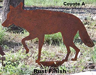 Walking Metal Coyote Yard Art, 19 inches above ground