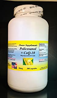 Policosanol + Coq-10, Cholesterol, Anti-Aging, Energy- 300 Capsules.Made in USA