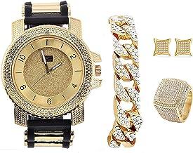 Bling-ed Out It's Lit! Hip Hop Watch & Jewerly Set w/Cuban Chain Bracelet, Kite Bling Earrings & Ring - GJM13