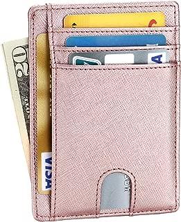 EKCIRXT Slim RFID Blocking Credit Card Holder Minimalist Leather Front Pocket Wallet for Women & Men