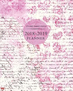 Stone Paper Press 2018-2019 Planner: Weekly and Monthly Planner/Calendar Sept 2018 – Dec 2019 Lilac Purple Script and Flowers