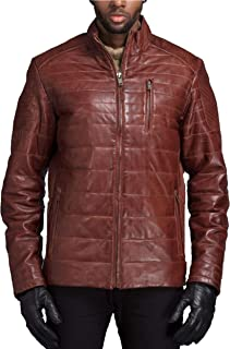Kace Men's Pure Leather Jacket   Natural Distressed Zipper Closure Leather Jackets for Men