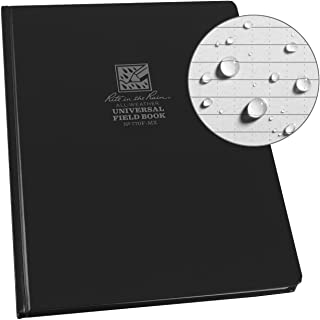"""Rite in the Rain Weatherproof Hard Cover Notebook, 8.75"""" x 11.25"""", Black Cover, Universal Pattern (No. 770F-MX)"""