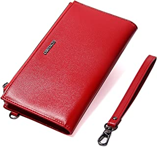 Contacts Real Saffiano Leather Women's Card Coin Phone Clutch Purse Double Zipper Wallet Red