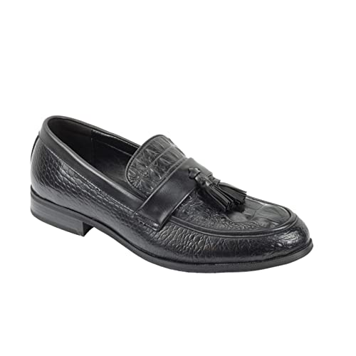 358d475d53 XPOSED London Mens Leather Lined Vintage Retro Snake Skin Tassel Loafers  Smart Casual Shoes