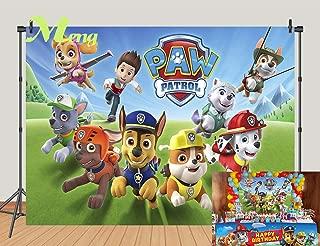 Cartoon Paw Patrol Theme Photography Backdrops Kids Children Happy Birthday Party Decotation Photo Green Grass Background Studio Props Banner Vinyl 7x5ft
