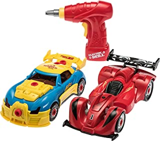 Prextex 4 in 1 Build Your Own Racer Car Set STEM take Apart Toy for Boys with Real Working Drill and Screws 53 Piece Take-...