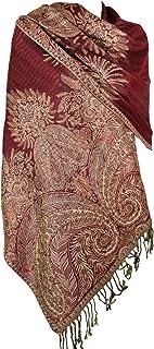 Achillea Luxurious Double Layered Jacquard Big Paisley Pashmina Shawl Wrap Scarf