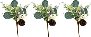 AuldHome Christmas White Berries and Pine Picks (3-Pack); Snow Frosted Greenery Holiday Decor
