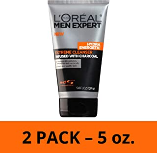 L'Oréal Paris Skincare Men Expert Hydra Energetic Facial Cleanser with Charcoal for Daily Face Washing, 2 count