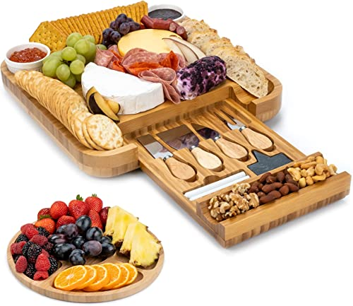 popular SMIRLY Cheese Board and Knife Set: 13 sale x 13 x 2 Inch Wood Charcuterie sale Platter for Wine, Cheese, Meat sale
