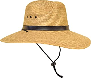Rising Phoenix Industries Large Mexican Palm Leaf Straw Panama Safari Cowboy Hat for Men, Adjustable Chin Strap, Flex-Fit