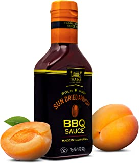 Traina Home Grown California Sun Dried Apricot Barbecue Sauce - No Corn Syrup, Bold Tangy Flavor Packed in 17 Ounce Bottle
