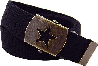 Women's Antique Brass Star Slider Military Belt Buckle with Canvas Web Belt