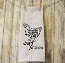Embroidered Farmhouse Kitchen Towel Naughty Chickens Lay Deviled Eggs